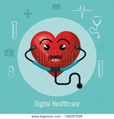 cardiology digital healthcare medical isolated vector illustration eps 10