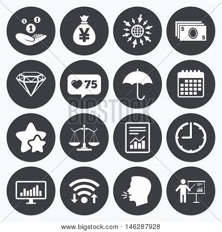 Calendar, wifi and clock symbols. Like counter, stars symbols. Money, cash and finance icons. Money savings, justice scales and report signs. Presentation, analysis and umbrella symbols. Talking head, go to web symbols. Vector