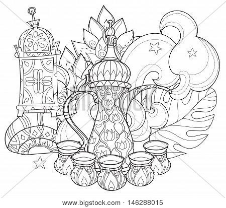 Arabic coffee maker dalla with cups. Greeting card or invitation, adult or children magic coloring anti stress book.Zen art hand drawn.
