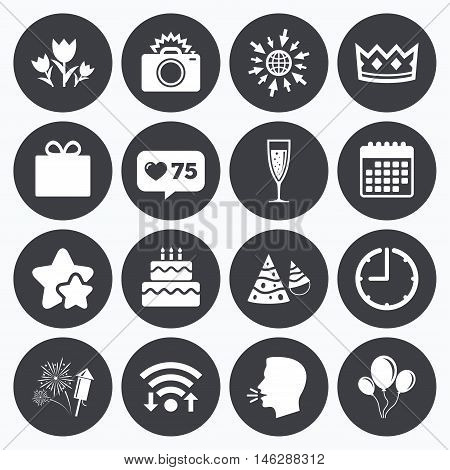 Calendar, wifi and clock symbols. Like counter, stars symbols. Party celebration, birthday icons. Fireworks, air balloon and champagne glass signs. Gift box, flowers and photo camera symbols. Talking head, go to web symbols. Vector