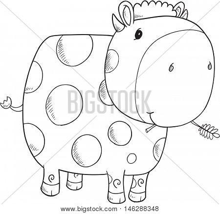 Cute Doodle Cow Vector Illustration Art