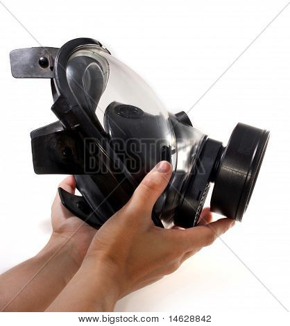 Holding A Gas Mask