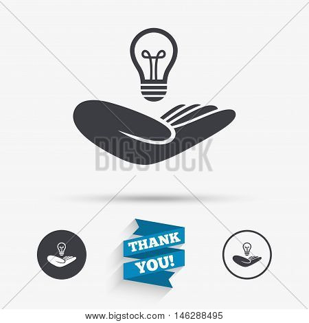 Idea patent insurance sign. Hand holds lamp bulb symbol. Intellectual Property. Flat icons. Buttons with icons. Thank you ribbon. Vector