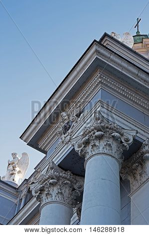 Architecture detail from the catholic cathedral in city Arad Romania.
