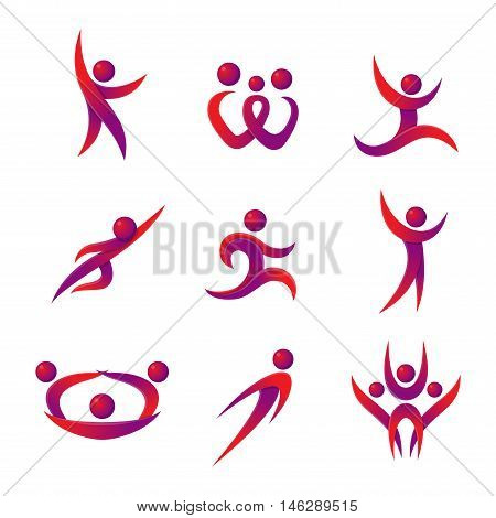 Silhouette of abstract people icon and abstract silhouette people. Performance silhouette logo people abstract figure pose. Set of abstract people logo silhouettes vector icon
