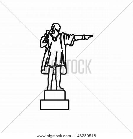 Christopher Columbus sculpture in outline style isolated on white background vector illustration
