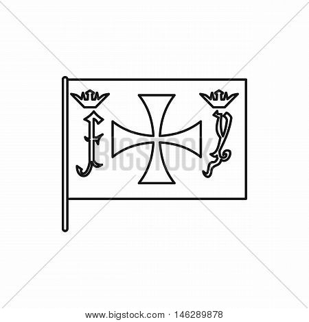 Columbus capitan flag in outline style isolated on white background vector illustration