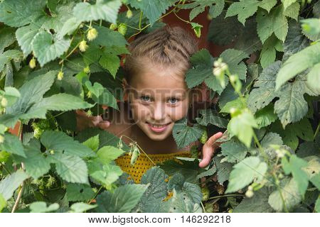 Little girl peeping through the greenery in the greenhouse.
