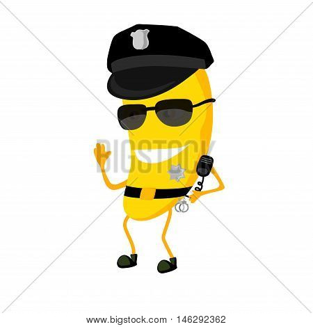 The banana police officer cartoon characters with a cap. The policeman dressed in uniform and glasses. On the cap is a sign.