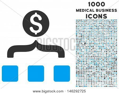 Money Aggregator glyph bicolor icon with 1000 medical business icons. Set style is flat pictograms blue and gray colors white background.