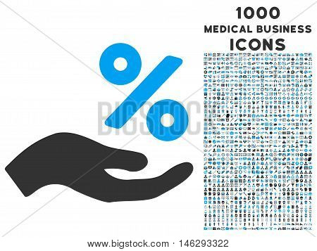 Percent Offer Hand glyph bicolor icon with 1000 medical business icons. Set style is flat pictograms blue and gray colors white background.