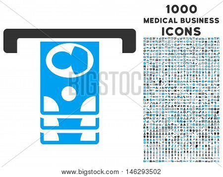 Withdraw Banknotes glyph bicolor icon with 1000 medical business icons. Set style is flat pictograms blue and gray colors white background.