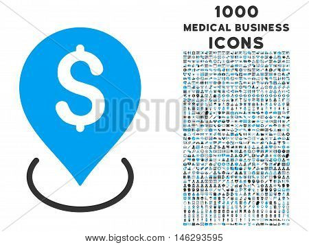 Bank Placement vector bicolor icon with 1000 medical business icons. Set style is flat pictograms blue and gray colors white background.