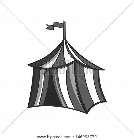 Knights tent icon in black monochrome style isolated on white background. Halt symbol vector illustration