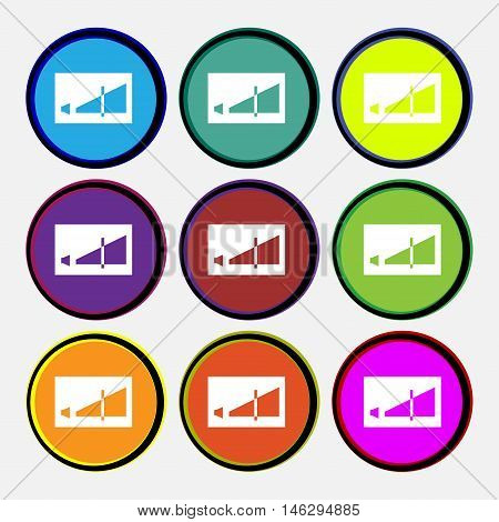 Volume Adjustment Icon Sign. Nine Multi Colored Round Buttons. Vector