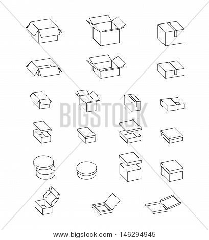Open and closed boxes. Set of cardboard boxes. Isolated carton packaging on white, simple illustration. Vector. Gift box, pizza box, mailing box, shoe box.