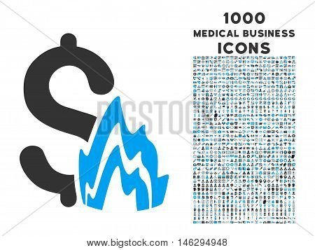 Fire Disaster glyph bicolor icon with 1000 medical business icons. Set style is flat pictograms, blue and gray colors, white background.