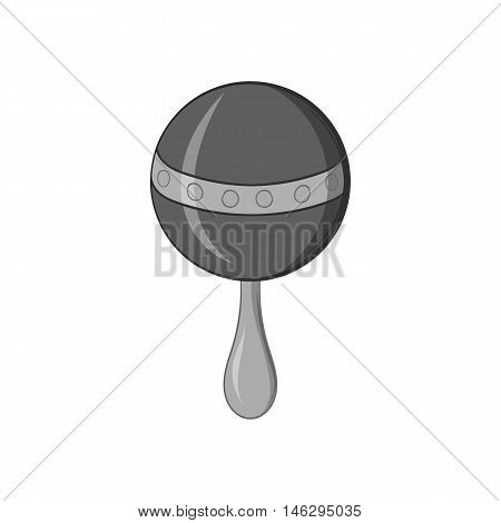 Rattle icon in black monochrome style isolated on white background. Childrens toy symbol vector illustration