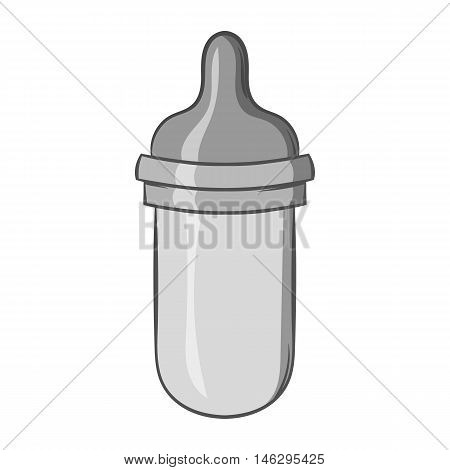 Bottle with nipple icon in black monochrome style isolated on white background. Child care symbol vector illustration