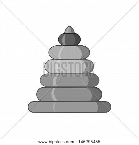 Childrens pyramid icon in black monochrome style isolated on white background. Childrens toy symbol vector illustration