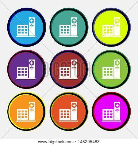 Hospital Icon Sign. Nine Multi Colored Round Buttons. Vector