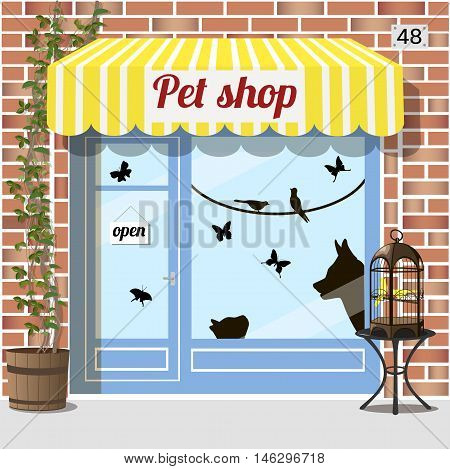 Pet shop building.Facade of red brick. Barrel with birdcage on it at the fore Cat dog birds and butterfly stickers on window. Vector illustration EPS10