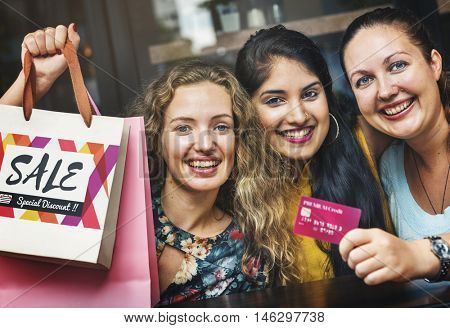 Women Friends Shopaholics Summer Sales Concept