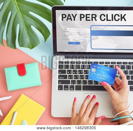 Pay Per Click Login Website Payment Graphic Concept