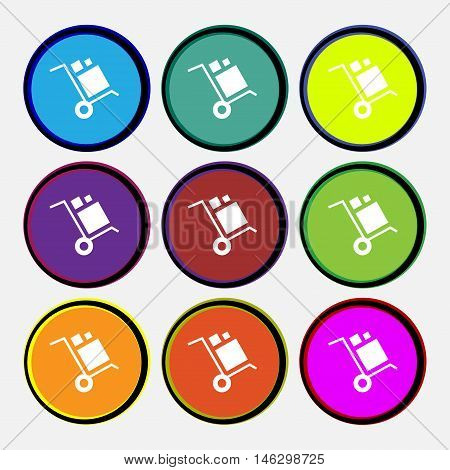 Loader Icon Sign. Nine Multi Colored Round Buttons. Vector