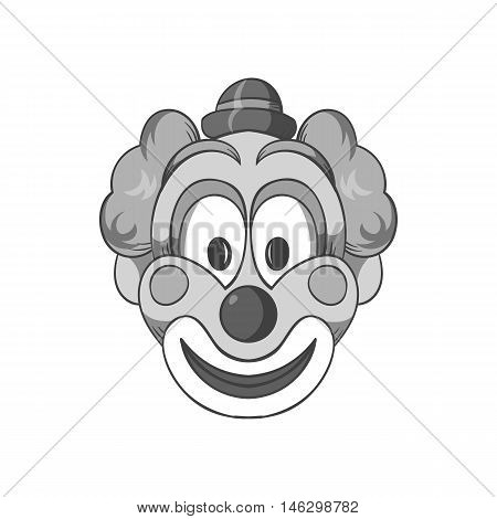 Head clown icon in black monochrome style isolated on white background. Jester symbol vector illustration