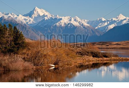 The Southern Alps Reflected in Lake Clearwater Hakatere Conservation Park, Canterbury, New Zealand