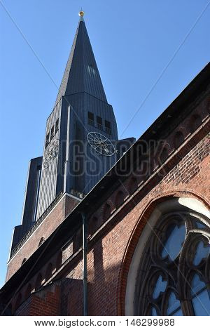 HAMBURG, GERMANY - AUG 25: St. James Church in Hamburg, Germany, as seen on Aug 25, 2016. It is located directly in the city center, has a 125m tall tower and features a famous organ by Arp Schnitger from 1693.