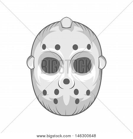 Hockey mask icon in black monochrome style isolated on white background. Protect symbol vector illustration