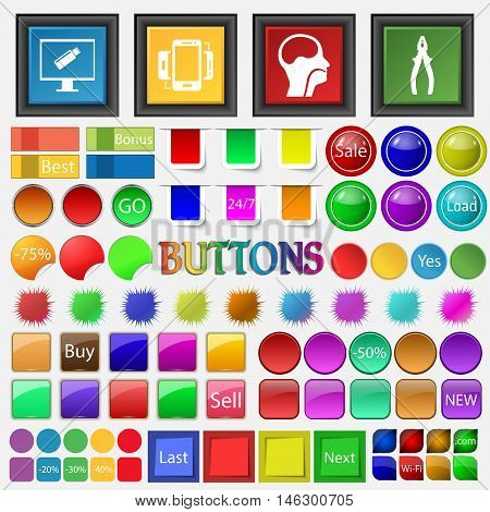 Flash Drive , Synchronization , Brain, Trachea, Person , Pliers Icon. Big Set Buttons For Your Site.
