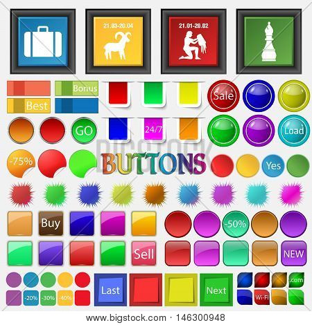 Suitcase, Capricorn , Aquarius , Chess Icon. Big Set Buttons For Your Site. Vector