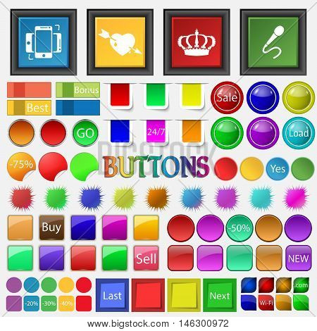 Synchronization , Heart , Crown , Microphone Icon. Big Set Buttons For Your Site. Vector