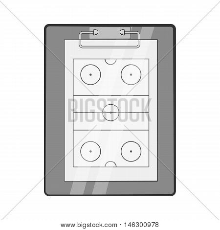 Hockey game plan icon in black monochrome style isolated on white background. Sport symbol vector illustration