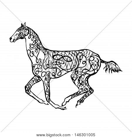 Graphical monochrome image of a galloping horse drawing in zintagle style vector abstract illustration