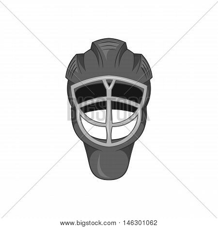 Hockey helmet icon in black monochrome style isolated on white background. Sport symbol vector illustration