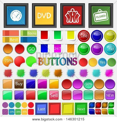 Speedometer , Dvd, A Group Of People , Openly Icon. Big Set Buttons For Your Site. Vector