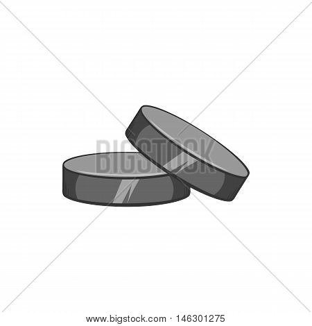 Hockey puck icon in black monochrome style isolated on white background. Sport symbol vector illustration