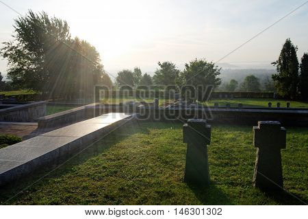 glare of the sun on the historical military cemetery