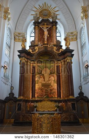 HAMBURG, GERMANY - AUG 25: St. Michaels Church in Hamburg, Germany, as seen on Aug 25, 2016. It it is considered to be one of the finest Hanseatic Protestant baroque churches.