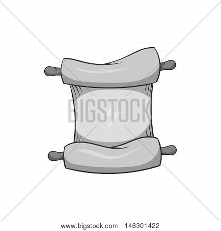 Papyrus icon in black monochrome style isolated on white background. Document symbol vector illustration