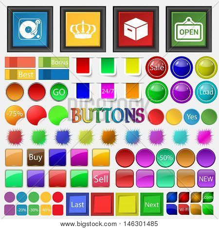 Gramophone , The Crown , The Box Is Open Icon. Big Set Buttons For Your Site. Vector
