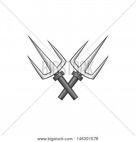 Crossed tridents icon in black monochrome style isolated on white background. Weapon symbol vector illustration