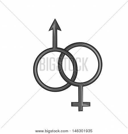 Sign man and woman icon in black monochrome style isolated on white background. Gender symbol vector illustration