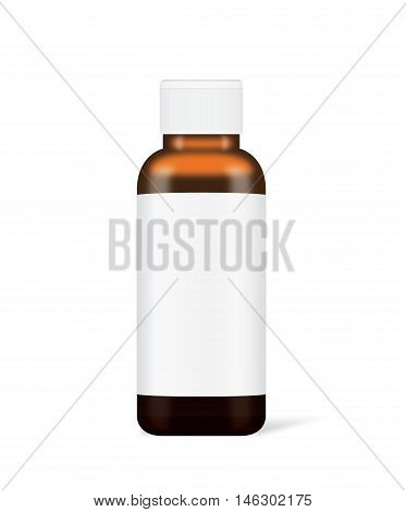 Vector brown glass bottle with white label have a white cap isolated on white. Ideal for medicine bottle mock up or serum container and other.