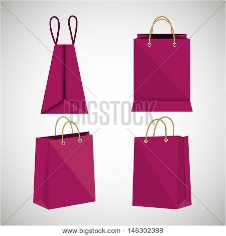 icon bag fuchsia shop paper design vector illustration eps 10