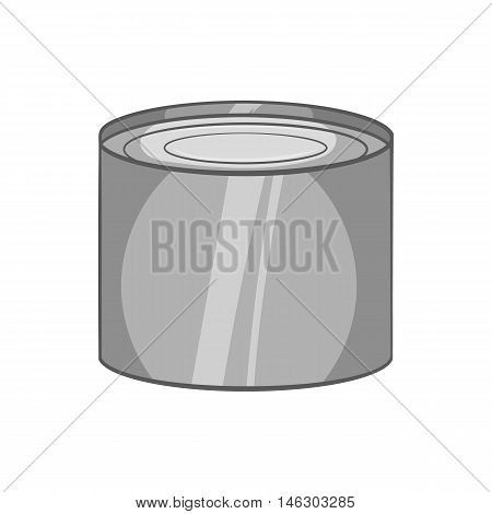 Tin packaging icon in black monochrome style isolated on white background. Production symbol vector illustration